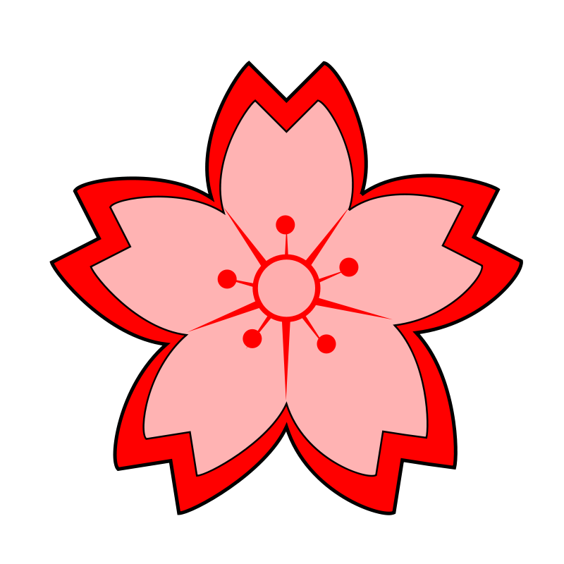 Sakura chinese flower pencil. Japanese clipart person japan