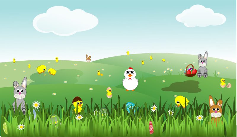 Free easter with bunnies. Flowers clipart landscape