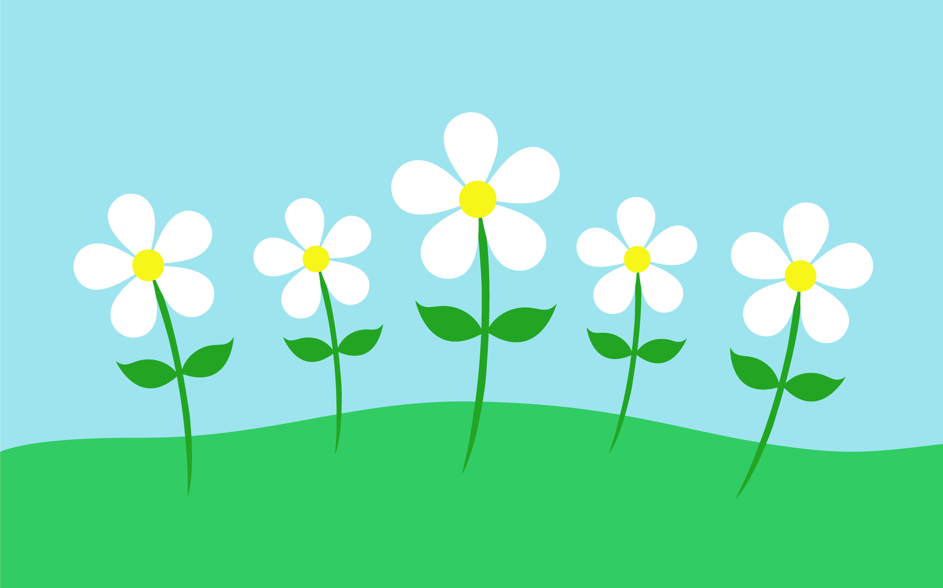Daisy clipart landscape. Flowers in simple free