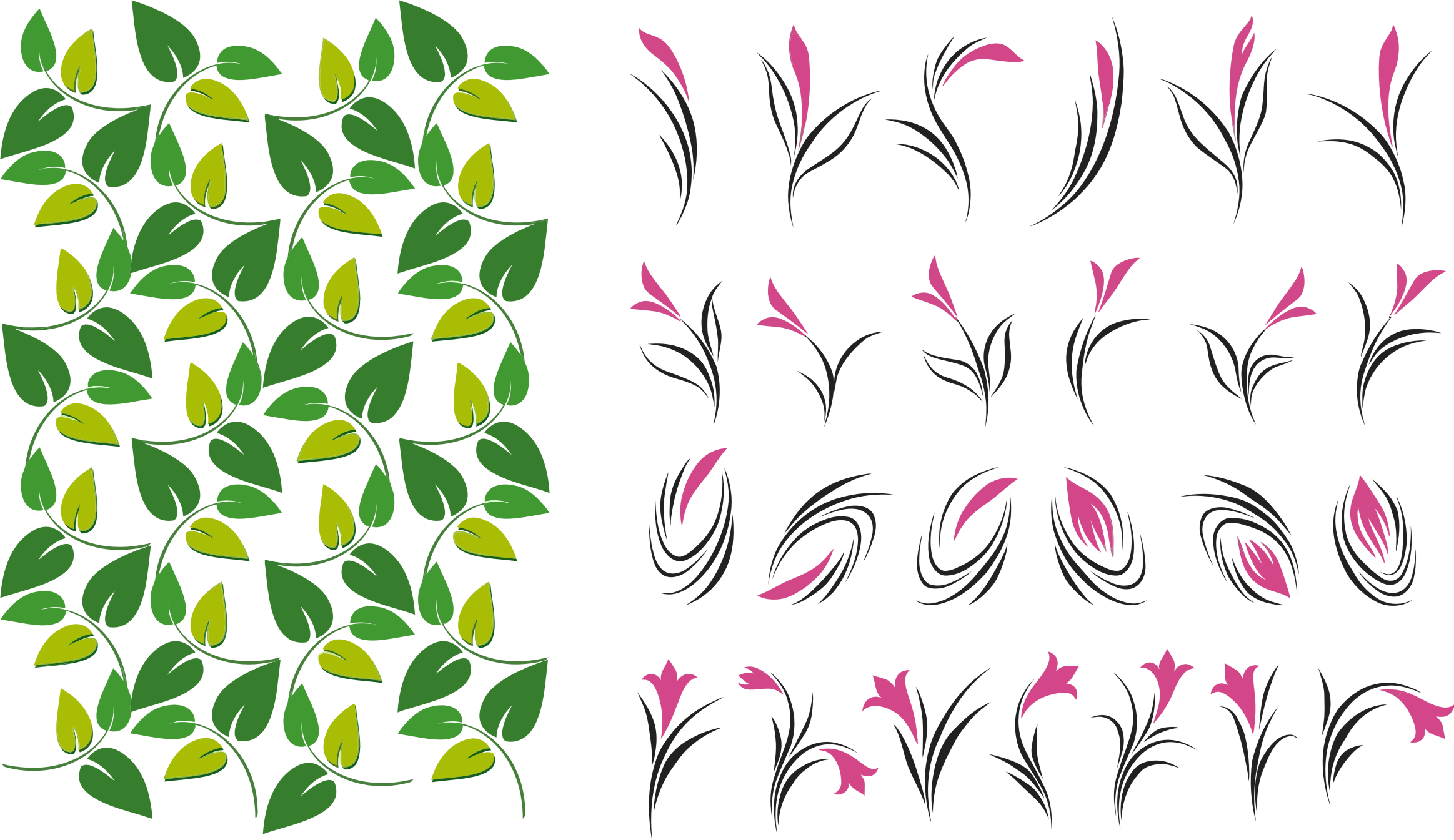 And flowers big image. Flower clipart leaves