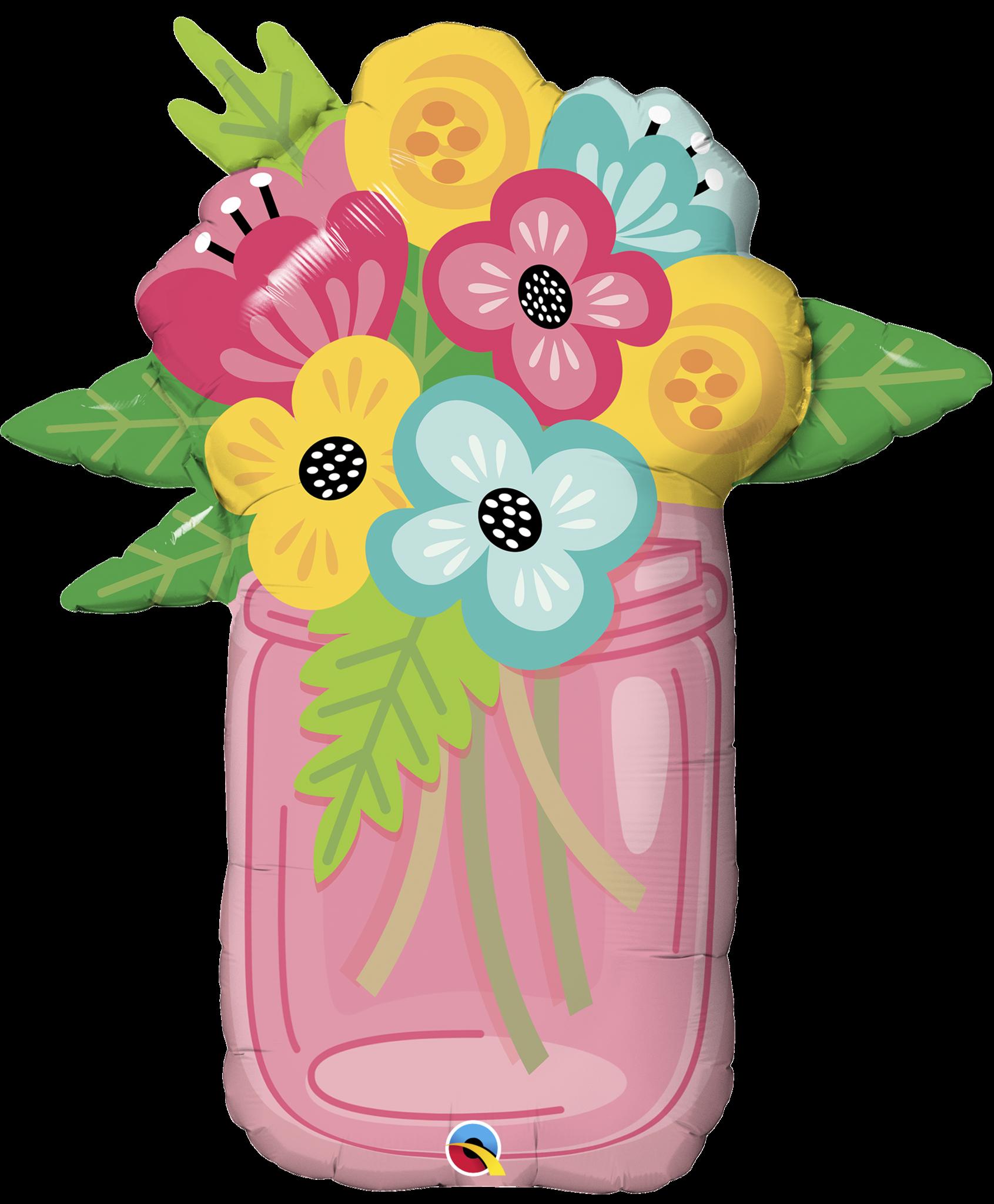 Clipart flowers mason jar.  shape foil bouquet
