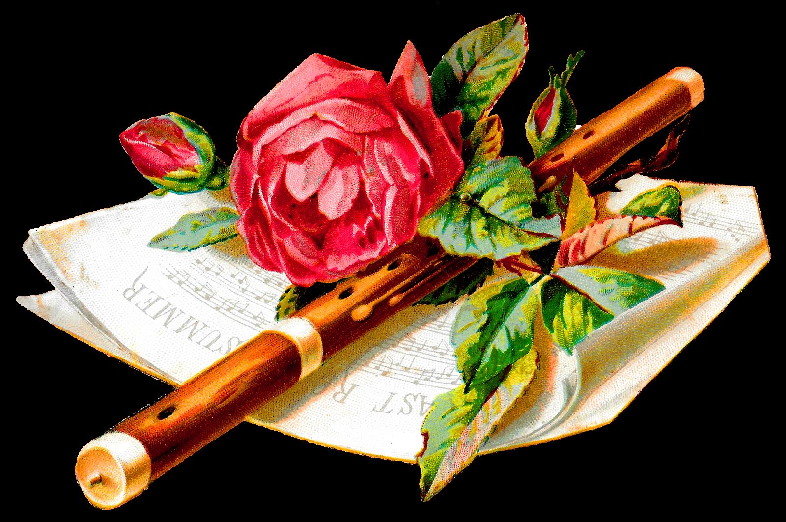 Antique images illustration romantic. Flute clipart wedding