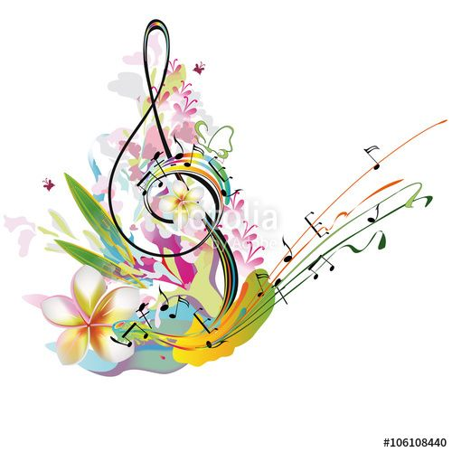With flowers and butterfly. Clipart music summer