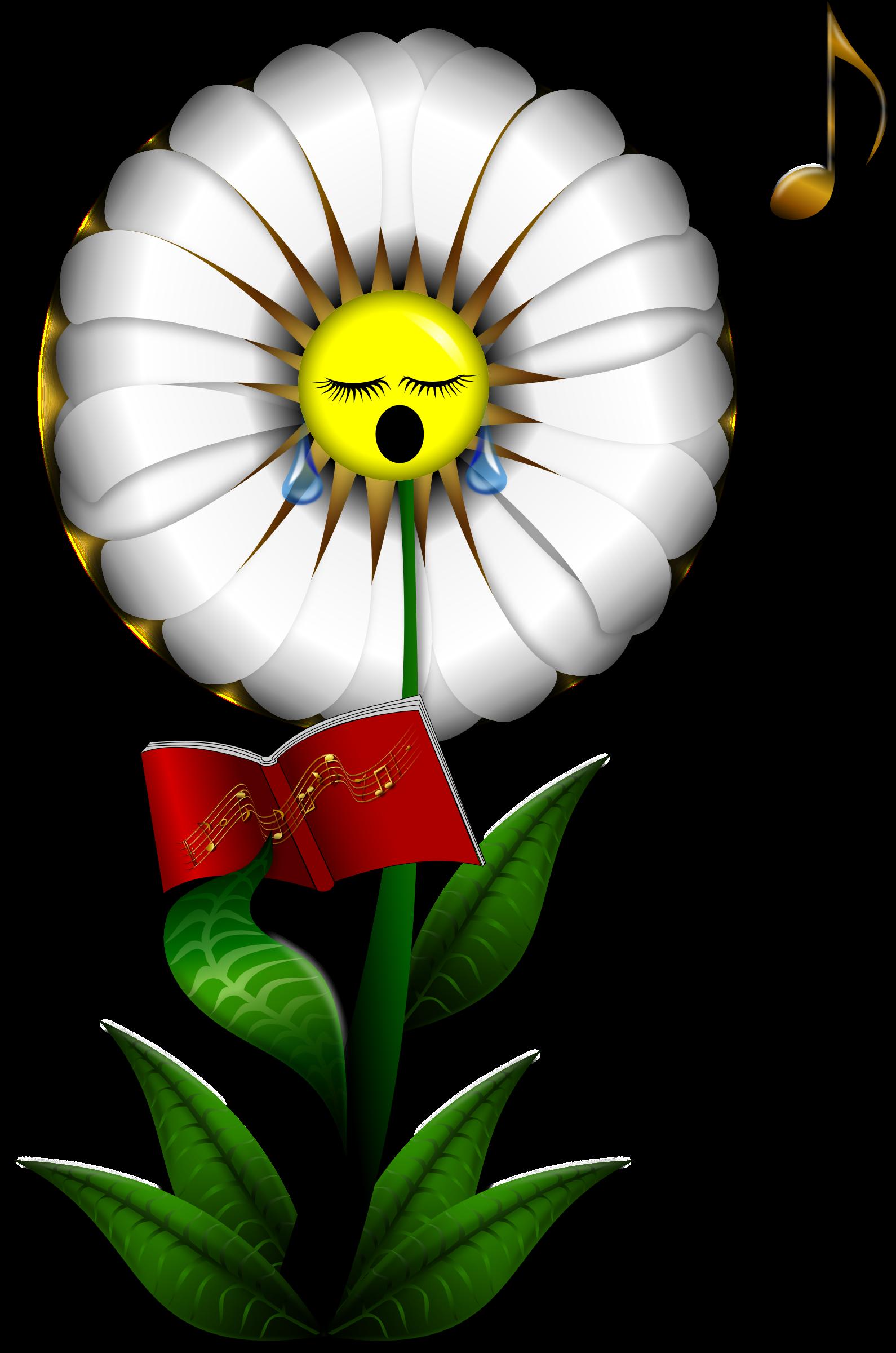 Music clipart flower. Singing daisy big image