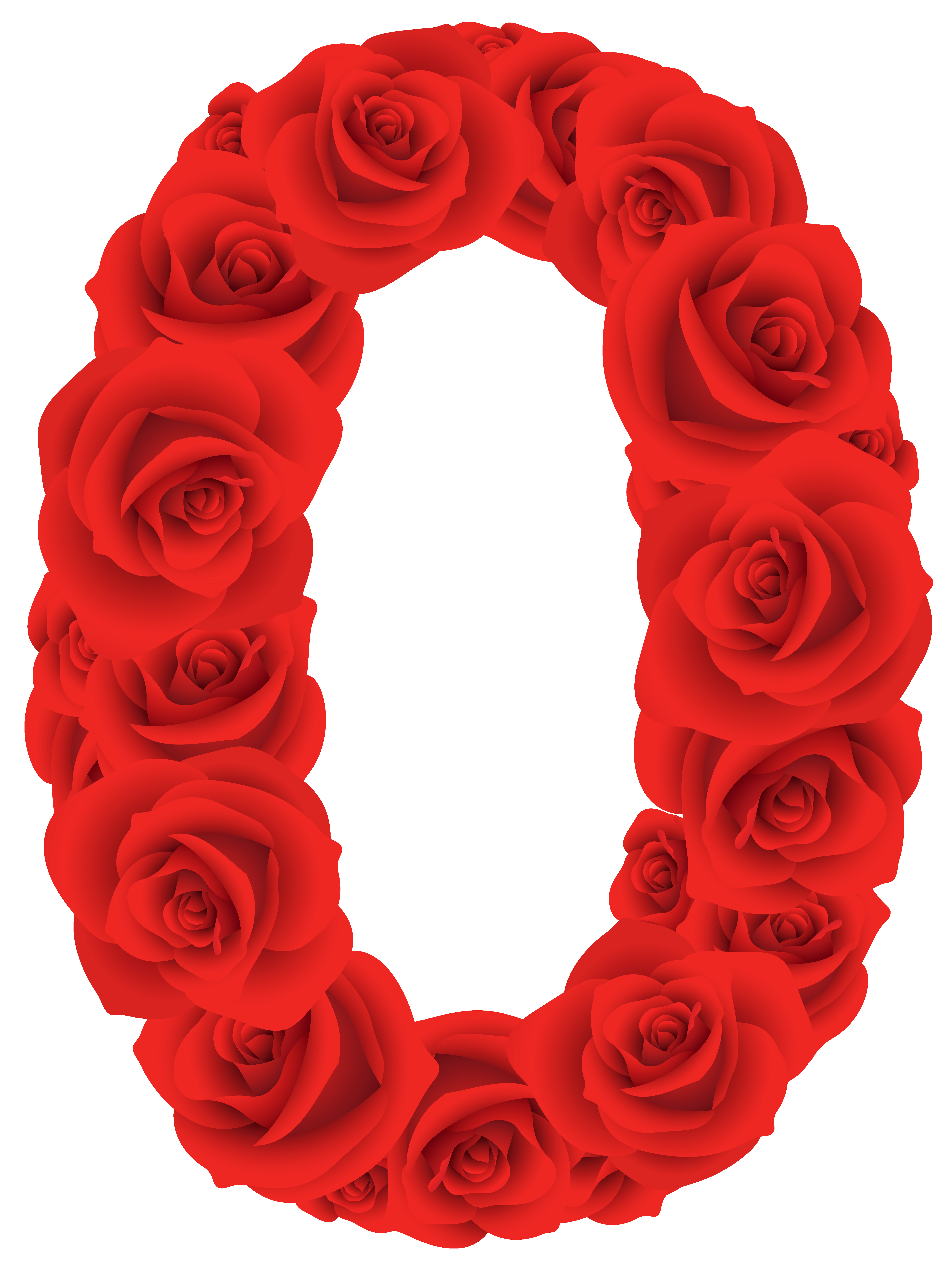 Red roses zero png. Flower clipart number