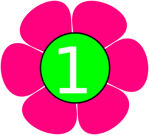 pink green flower. Number 1 clipart number 1st