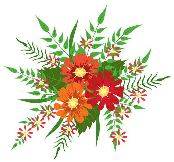 Flowers clipart camera. Red and orange decoration