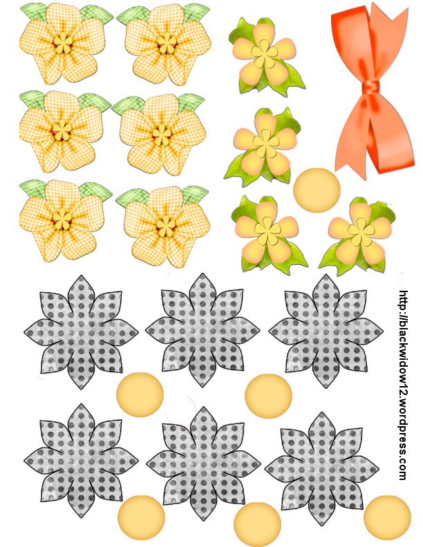 Clipart flower origami. Blk yellow checked and