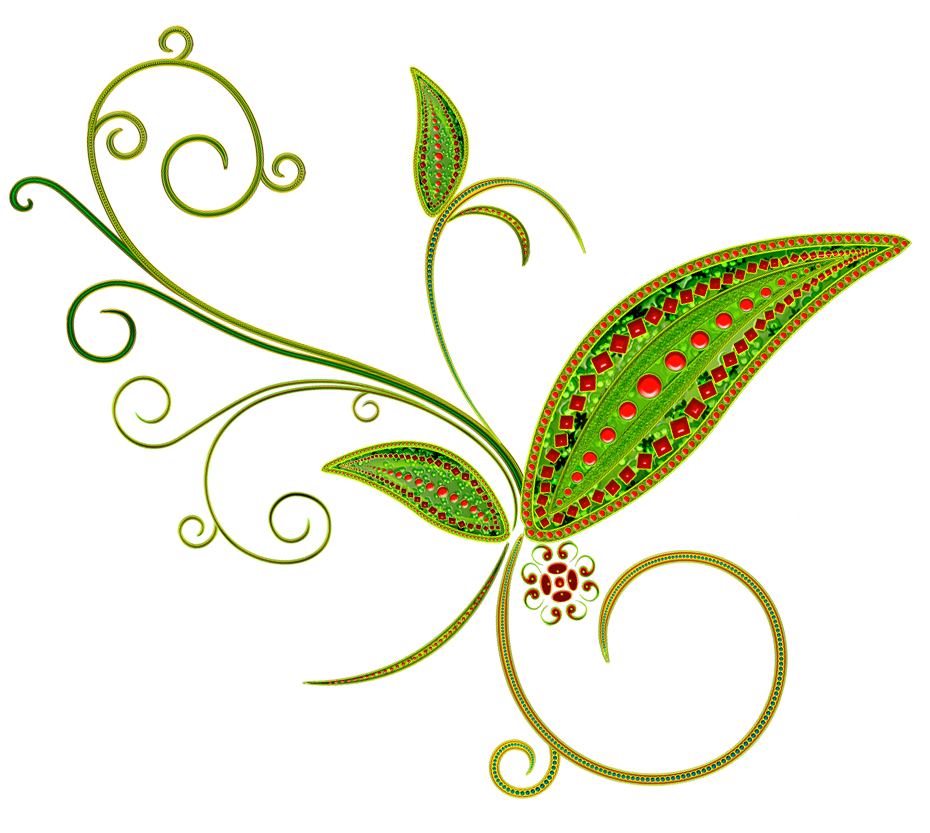 Deco flower ornament png. Floral clipart green