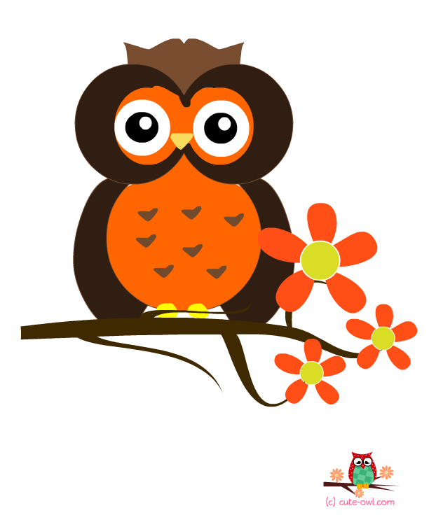 Free printable wall stickers. Flowers clipart owl