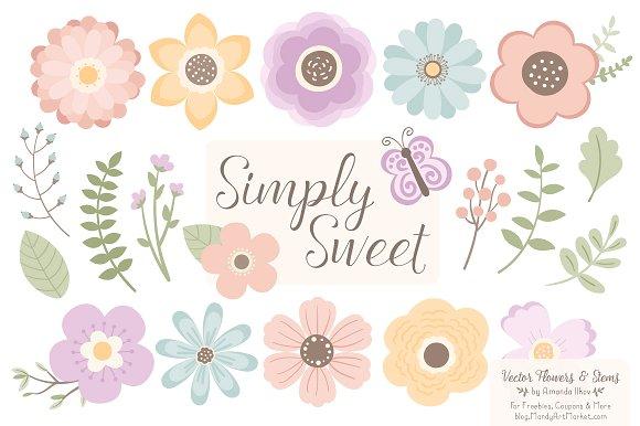Clipart flower pastel. Vectors