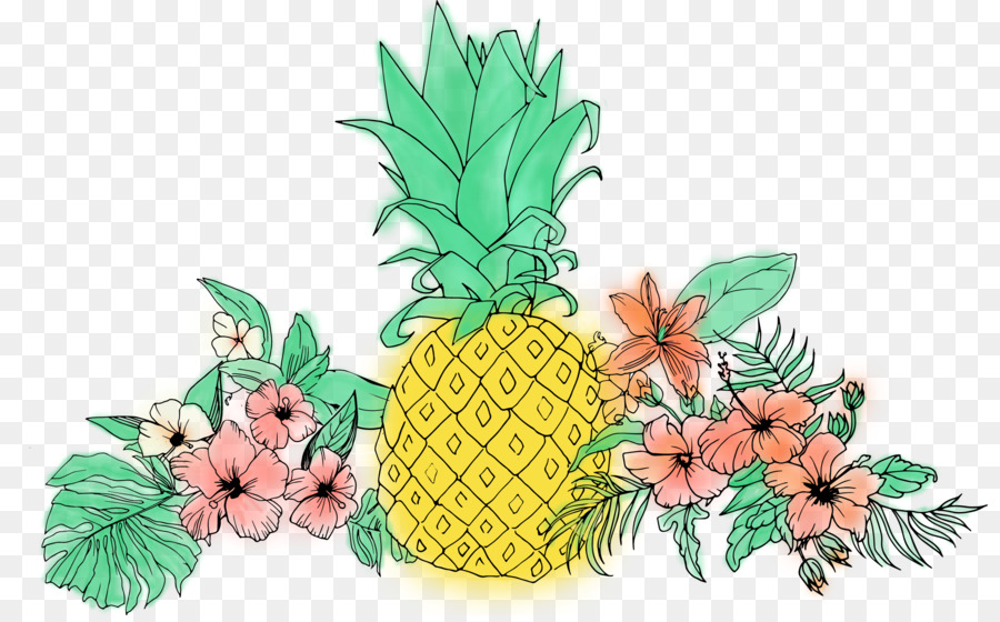 Pineapple clipart flower. Floral background ananas