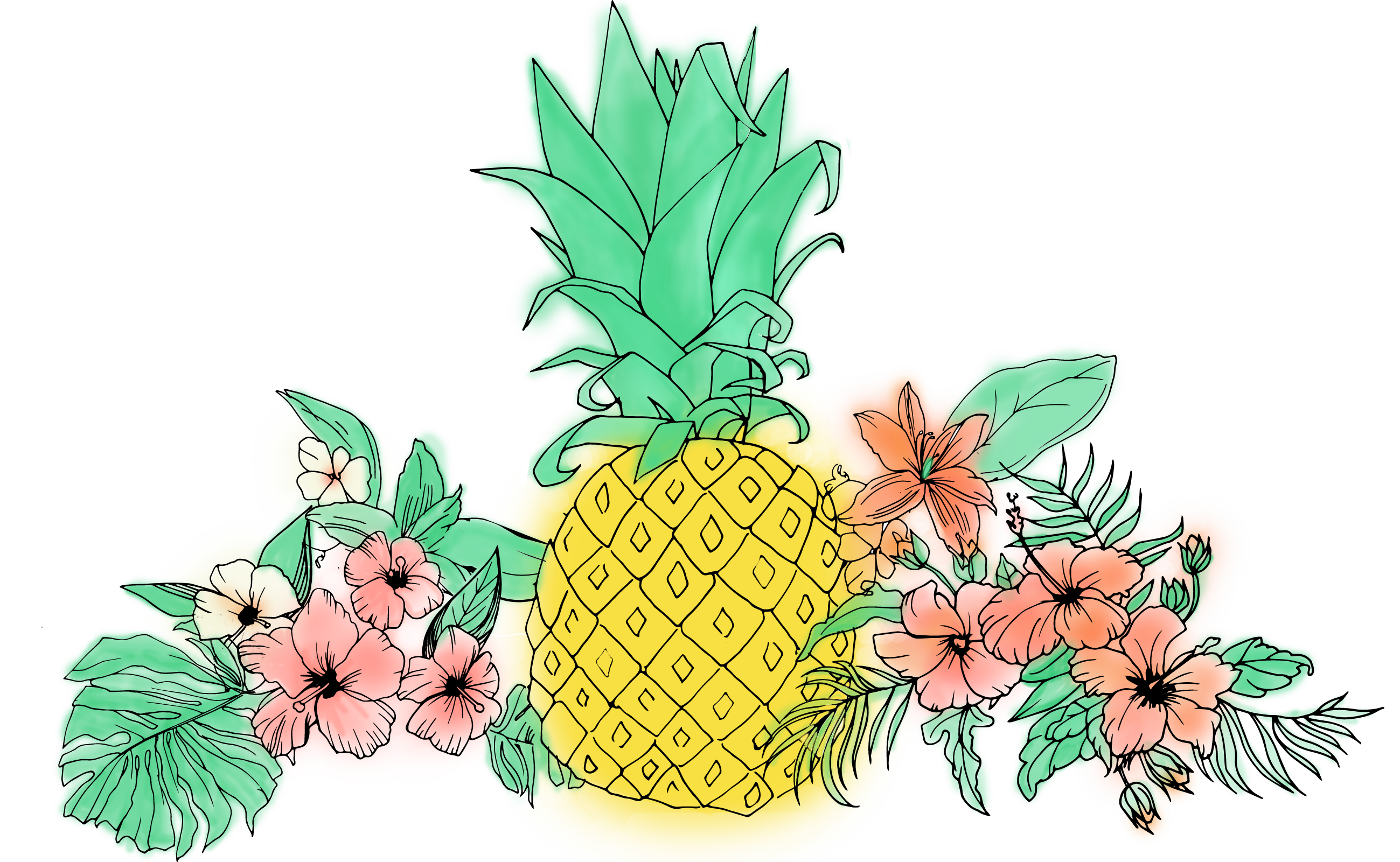 Fruit clip art tropical. Pineapple clipart flower