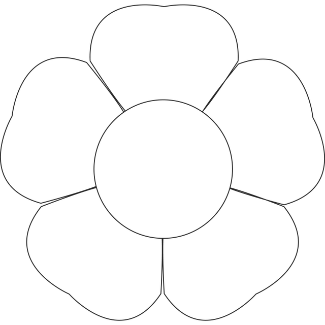 Flower outline printable petal. Clipart rose template