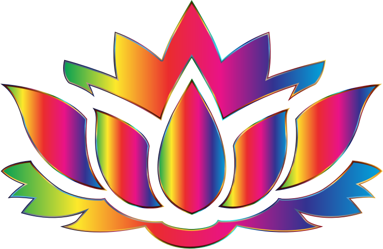 Lotus silhouette no background. Flower clipart rainbow