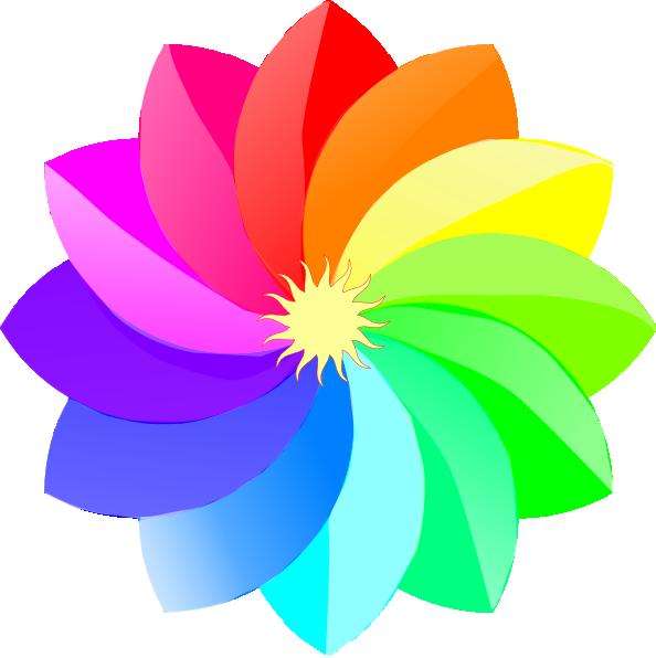 Clip art at clker. Flower clipart rainbow