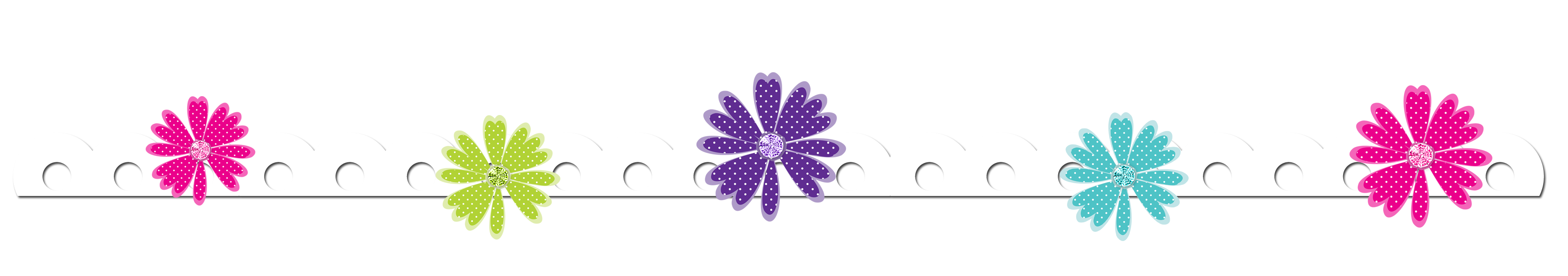 Dot clipart one. Flower row border