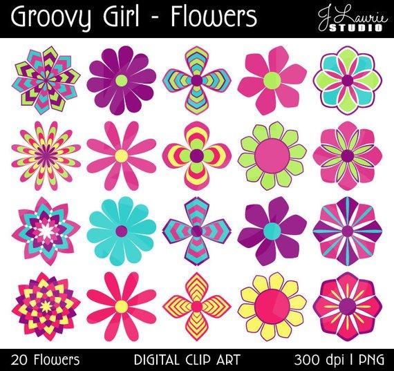 Clipart flower scrapbook. Digital flowers groovy girl