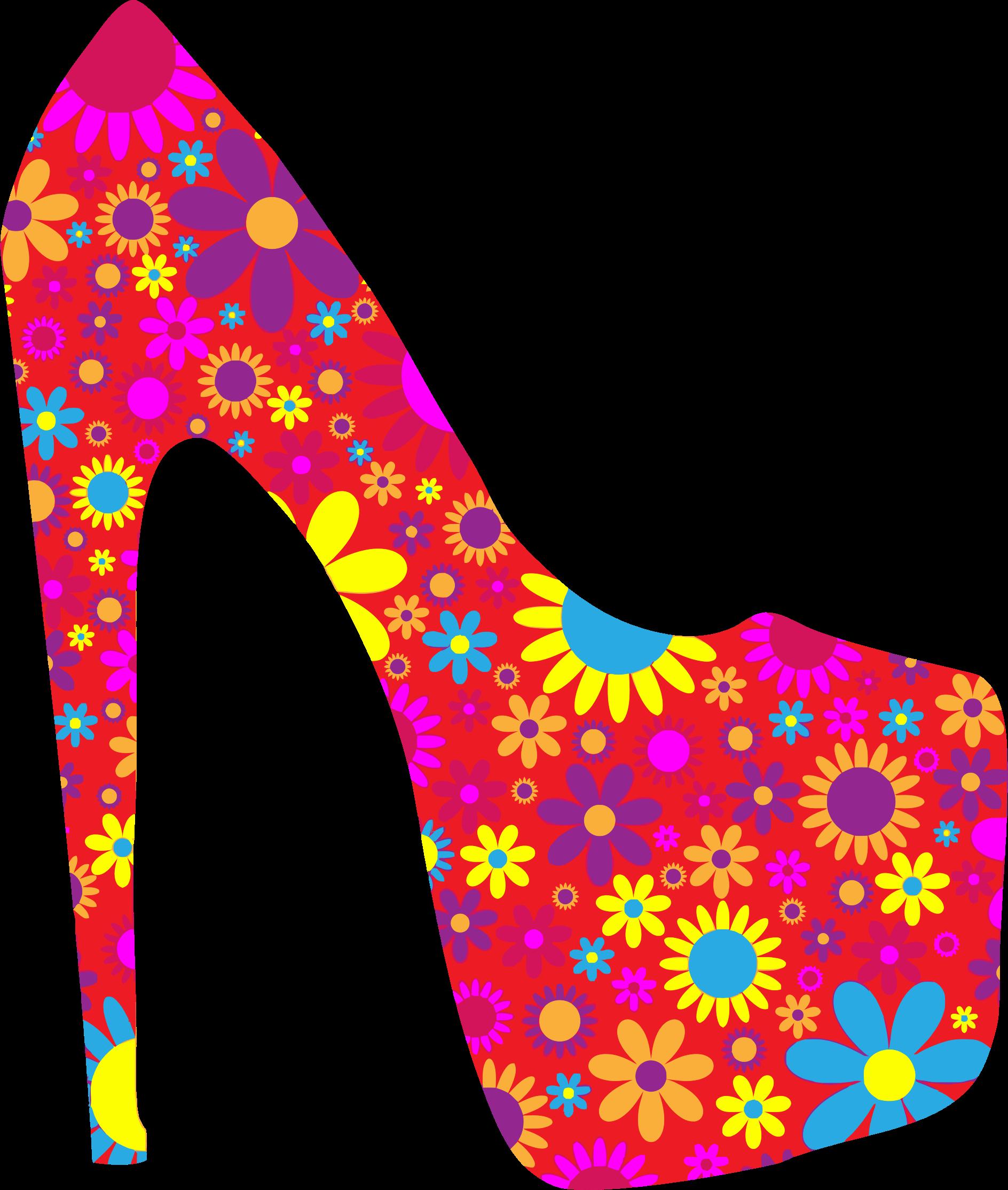 Flower clipart shoe. Retro floral big image