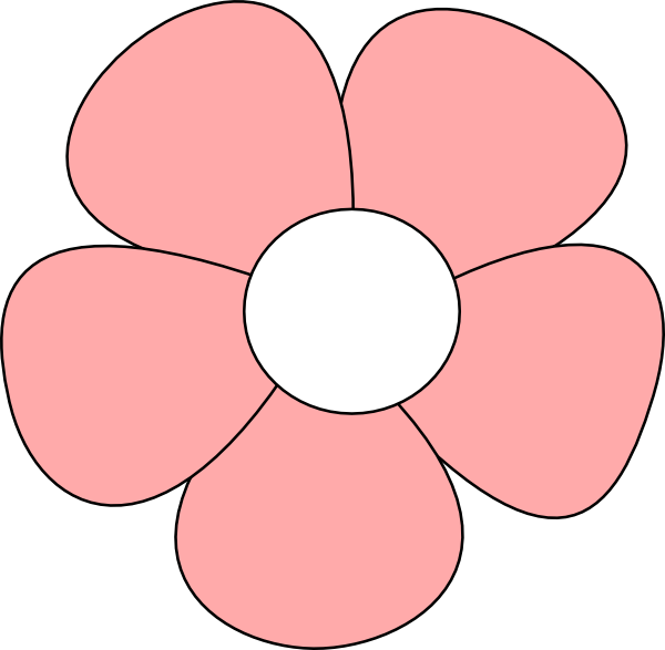 Pink clip art at. Clipart flower simple
