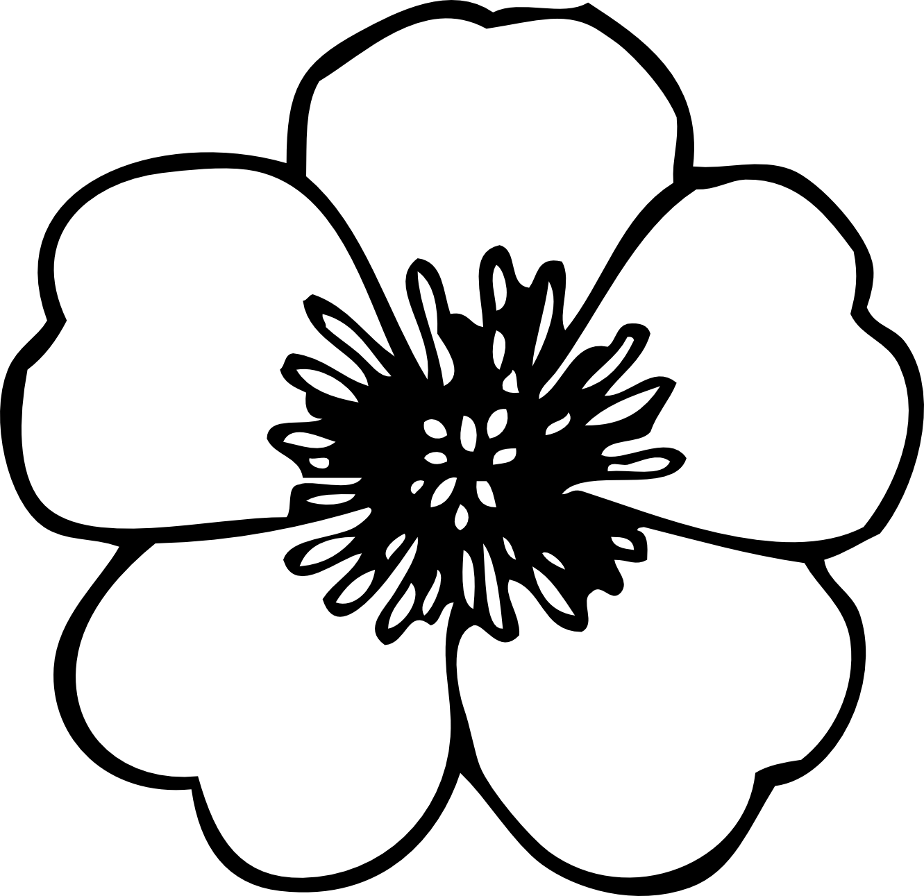 Simple black and . White flower clipart png