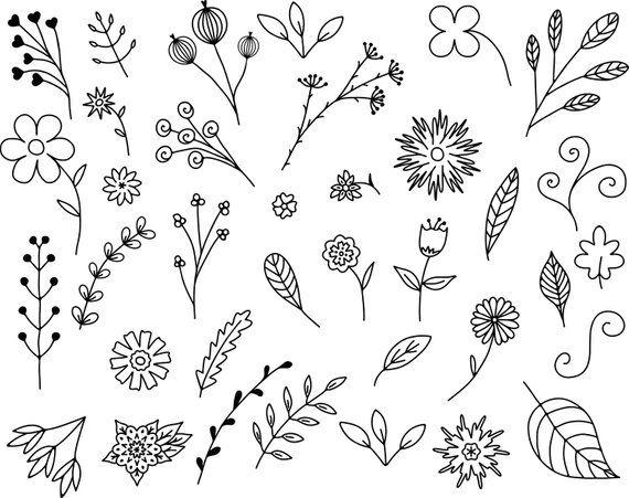 Vines clipart doodle.  floral doodles vector