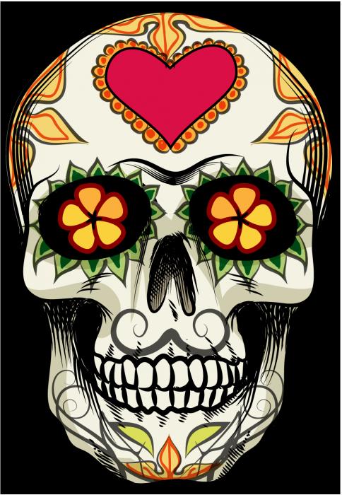 Sticker calavera tete de. Clipart flower skull