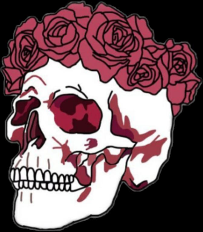 Clipart flower skull. Freetoedit tumblr rose red
