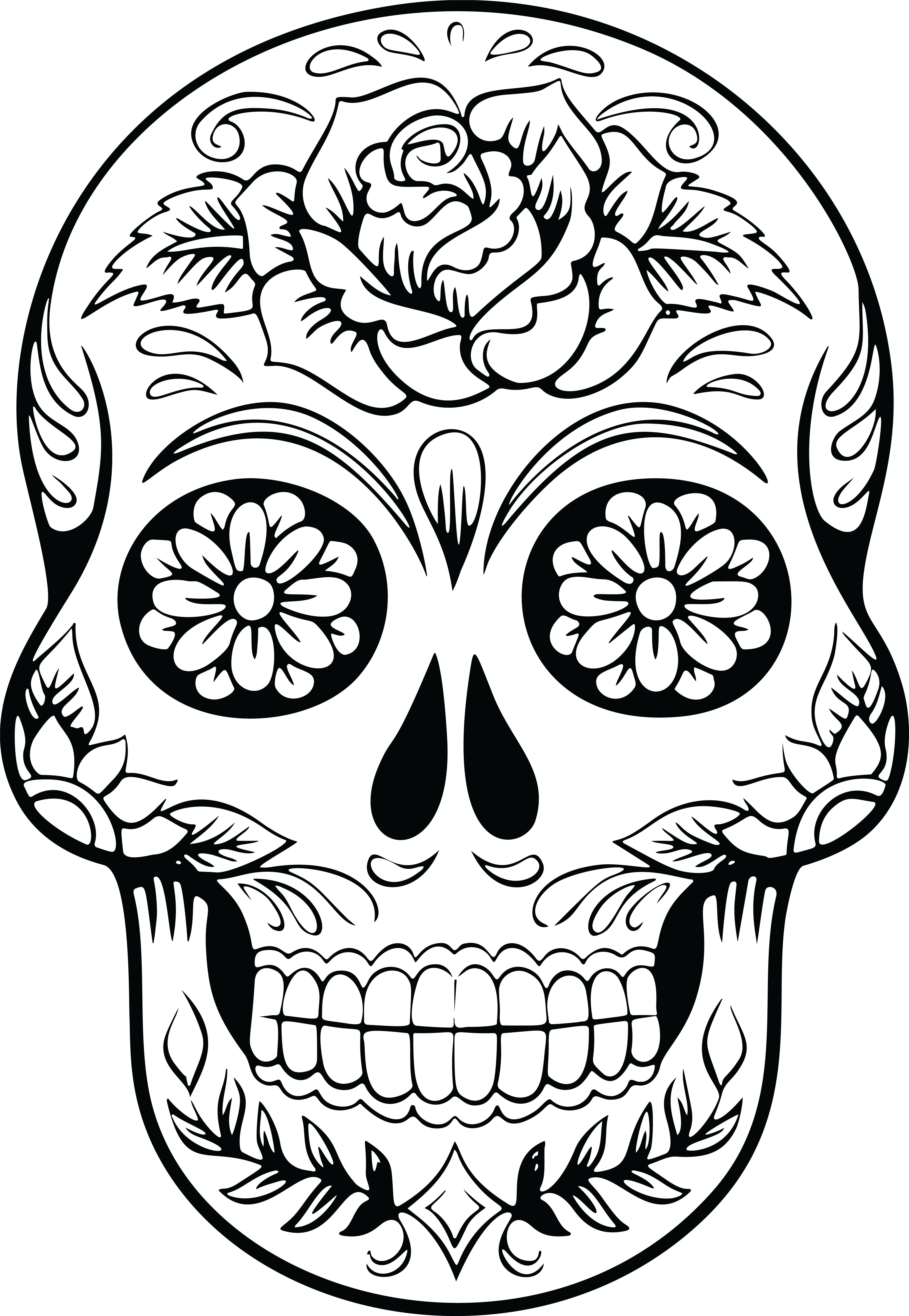 Awesome of a sugar. Clipart flower skull