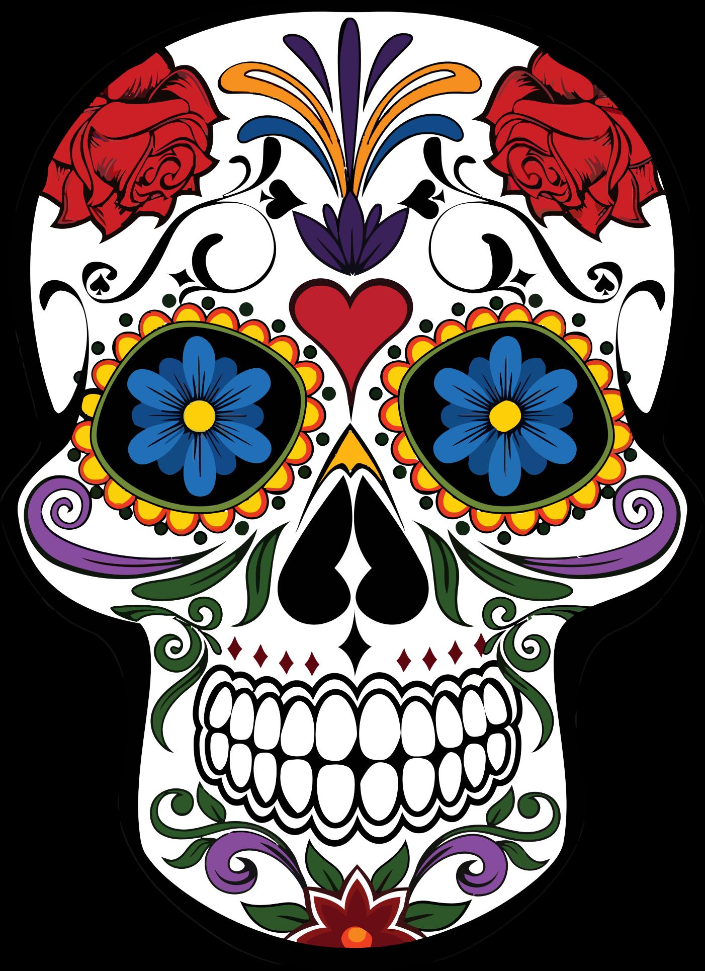 Longhorn clipart sugar skull. Floral