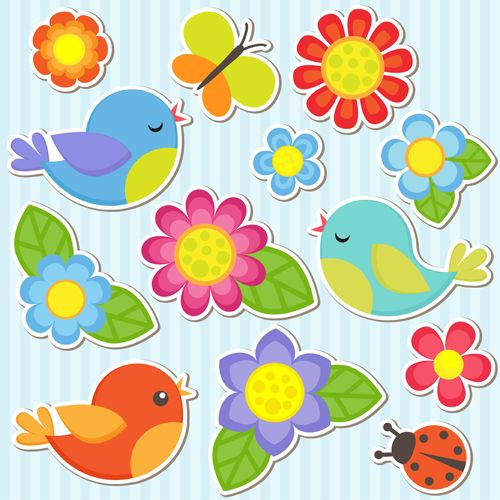 Bird and butterfly ladybug. Clipart flower sticker