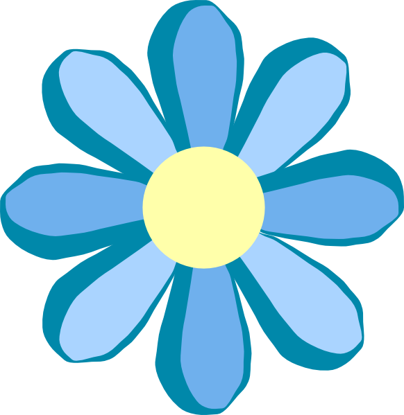 Blue clip art at. Music clipart flower