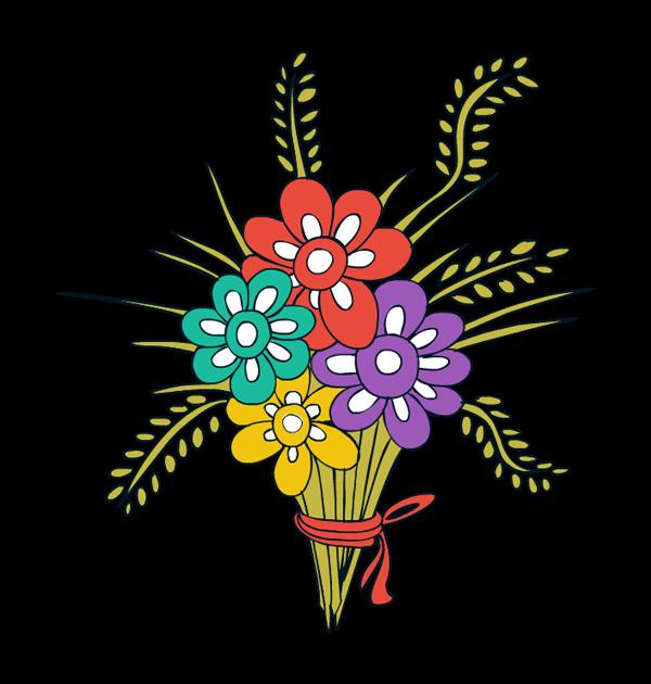 Bouquet victorian die cut. Clipart flower tub