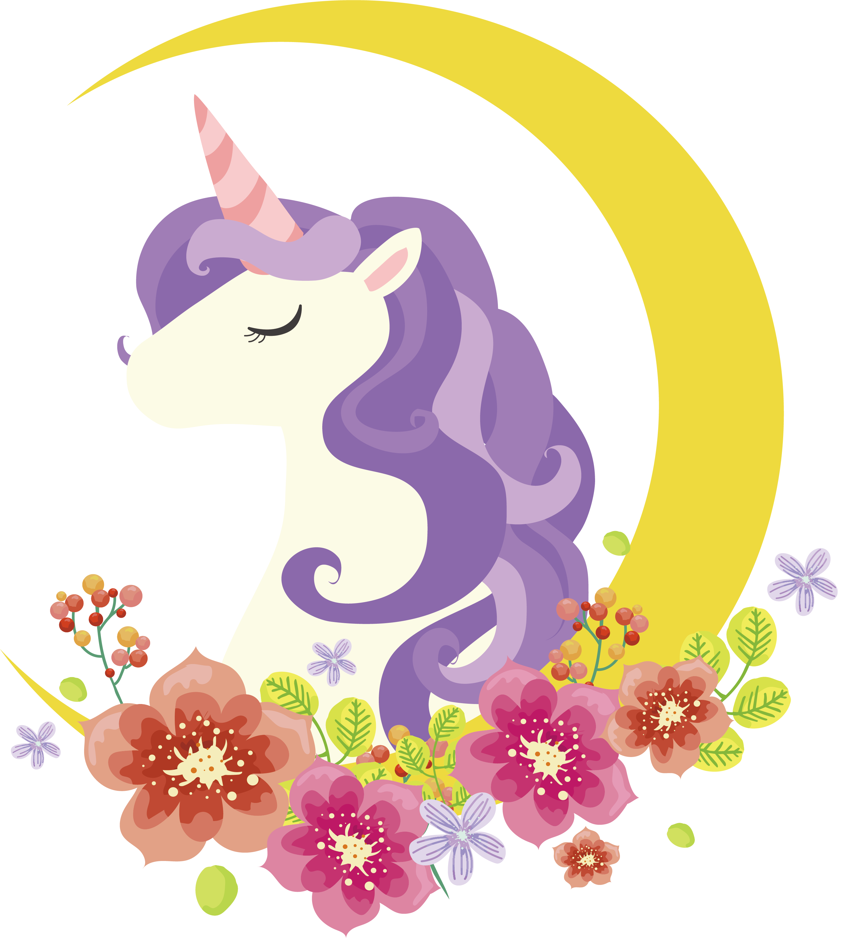Icon crescent flowers adorn. Clipart unicorn flower