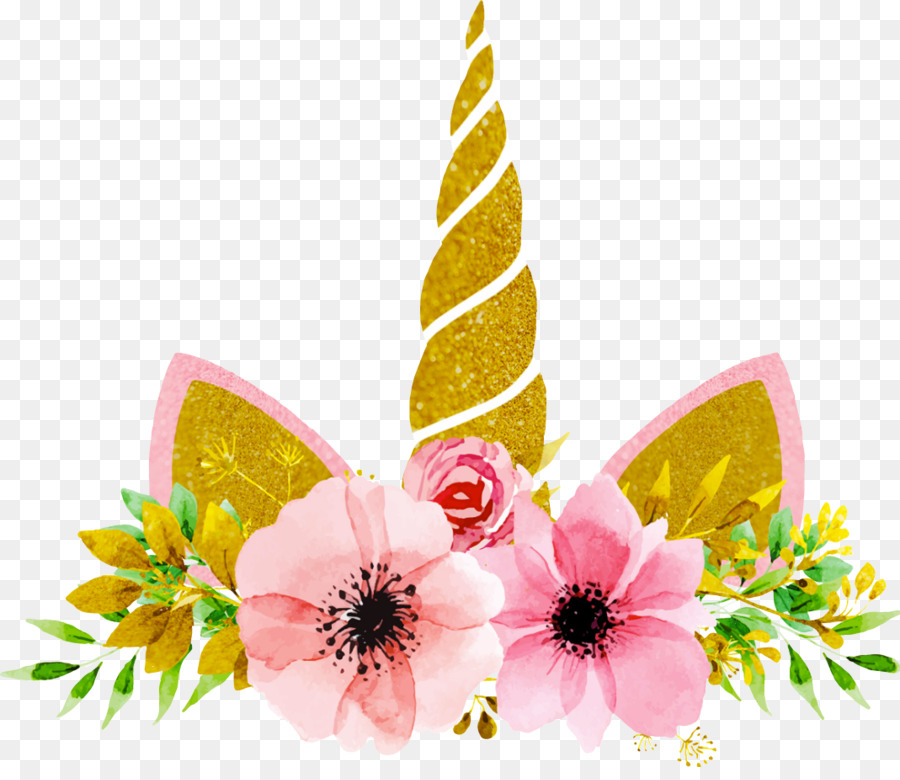 Floral background party . Clipart unicorn flower