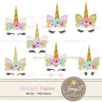 Faces flower . Clipart unicorn glitter