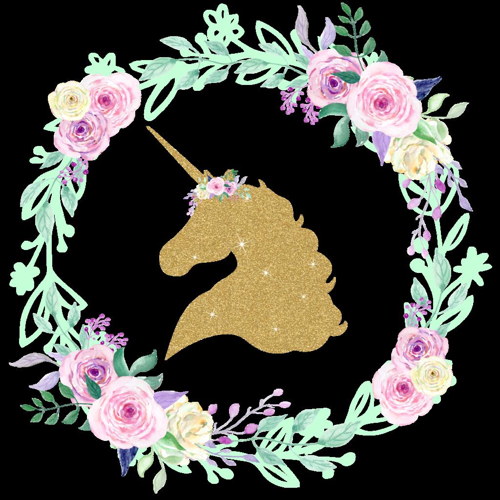 Clipart unicorn flower. Gold glitter center floral