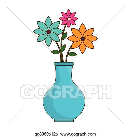 Vector stock isolated icon. Vase clipart summer flower