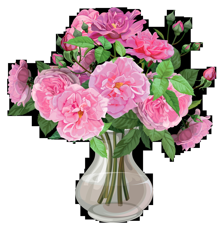 Pink roses in transparent. Clipart rose vase