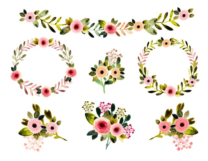 Watercolor flowers spring wedding. Floral clipart vintage flower
