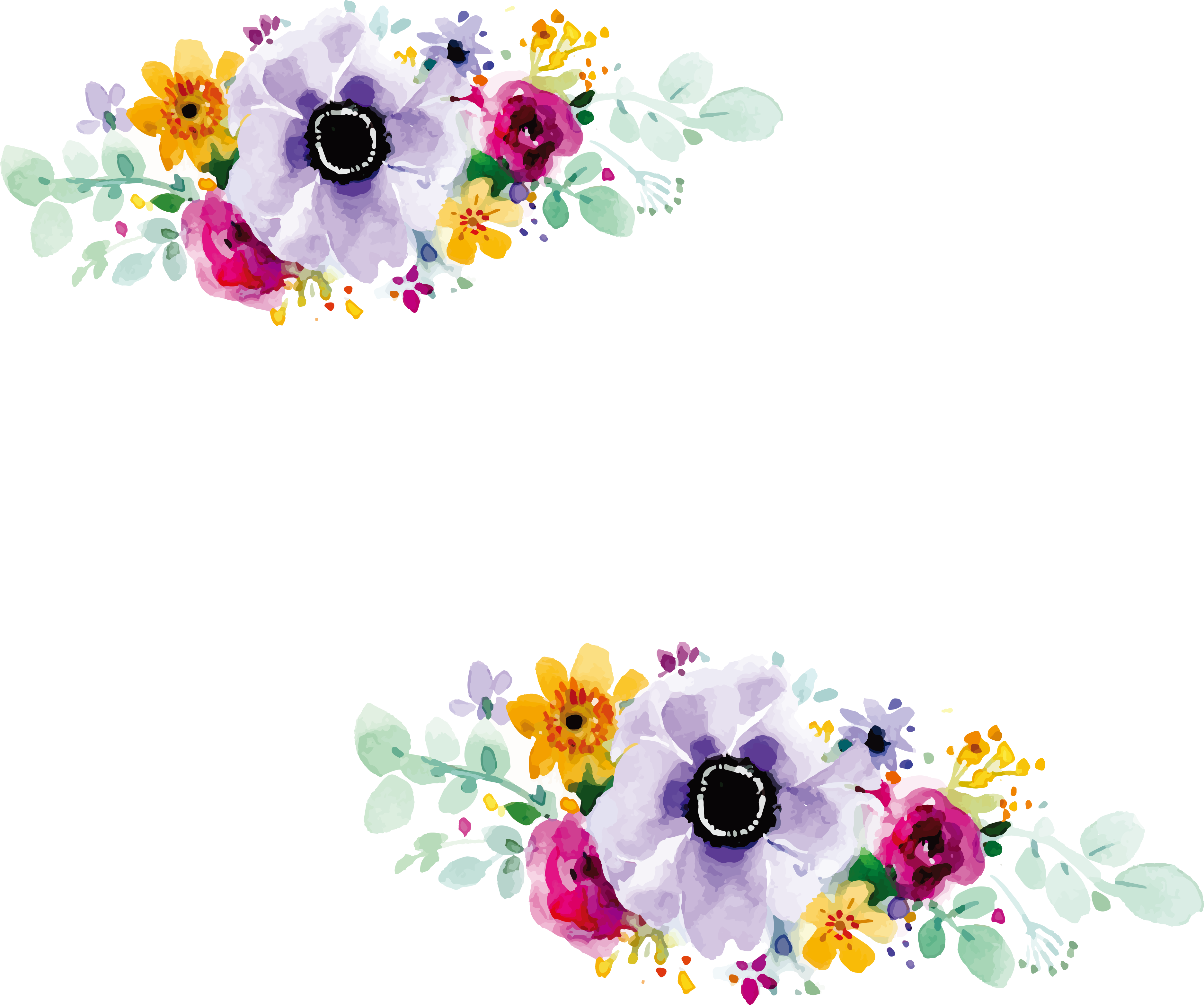 Floral wedding invitation watercolour. Flower design png