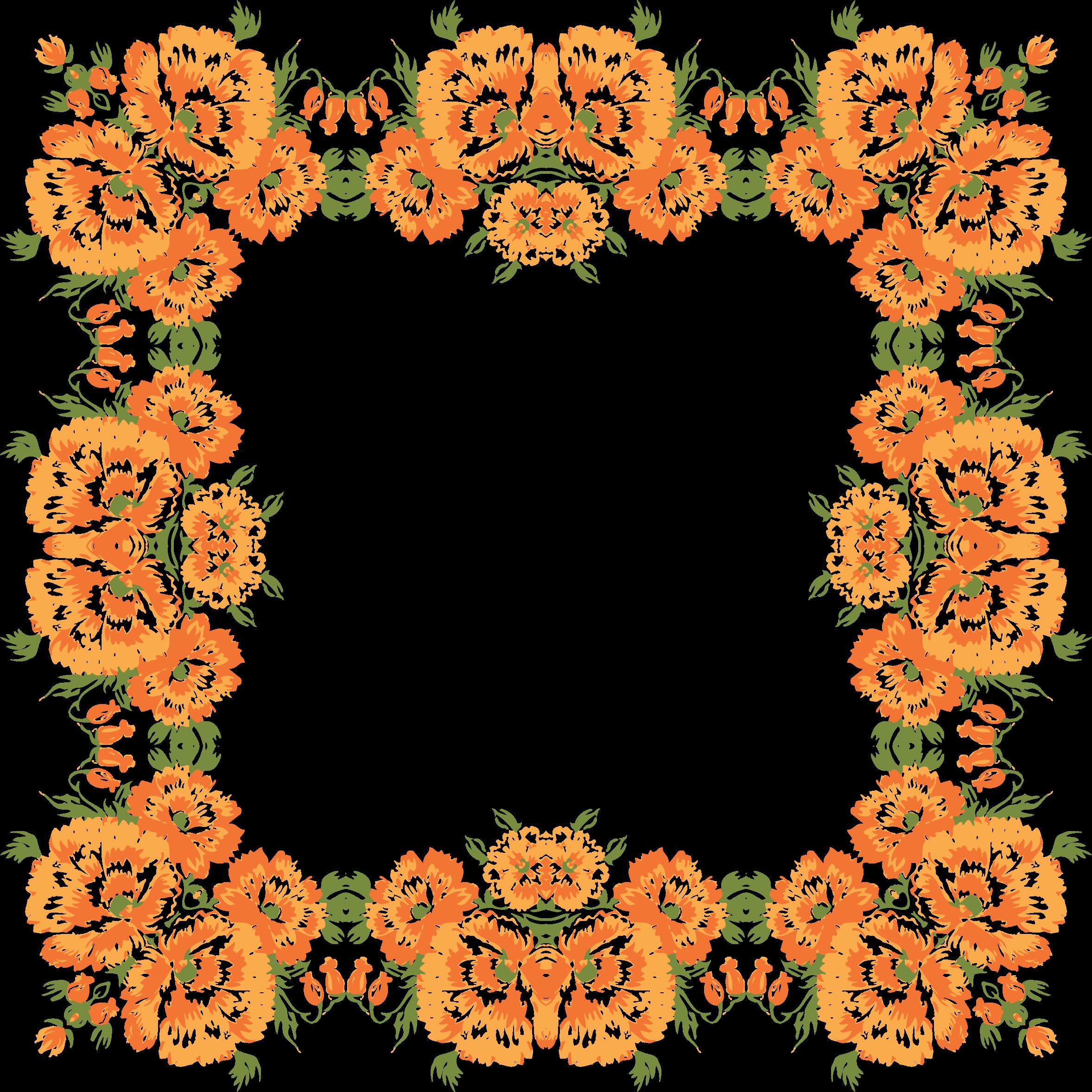 Floral wreath frame big. Garland clipart marigold