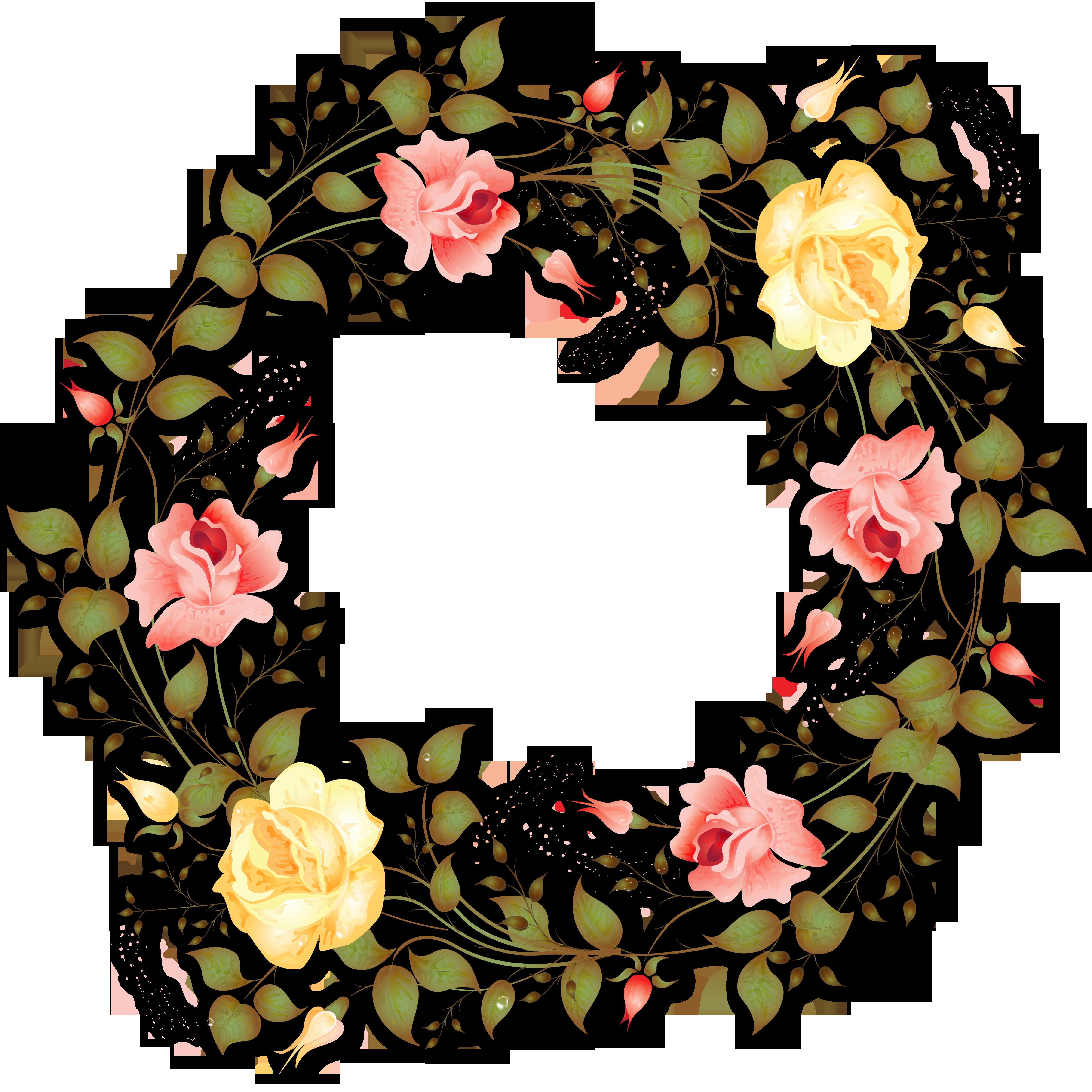 Clipart rose wreath. Flower garland transprent png
