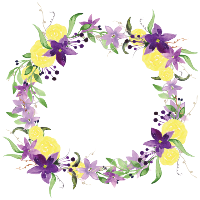 Watercolor flower wreath png. Purple flowers and psd