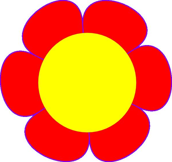 Flower clipart logo. Red yellow center clip