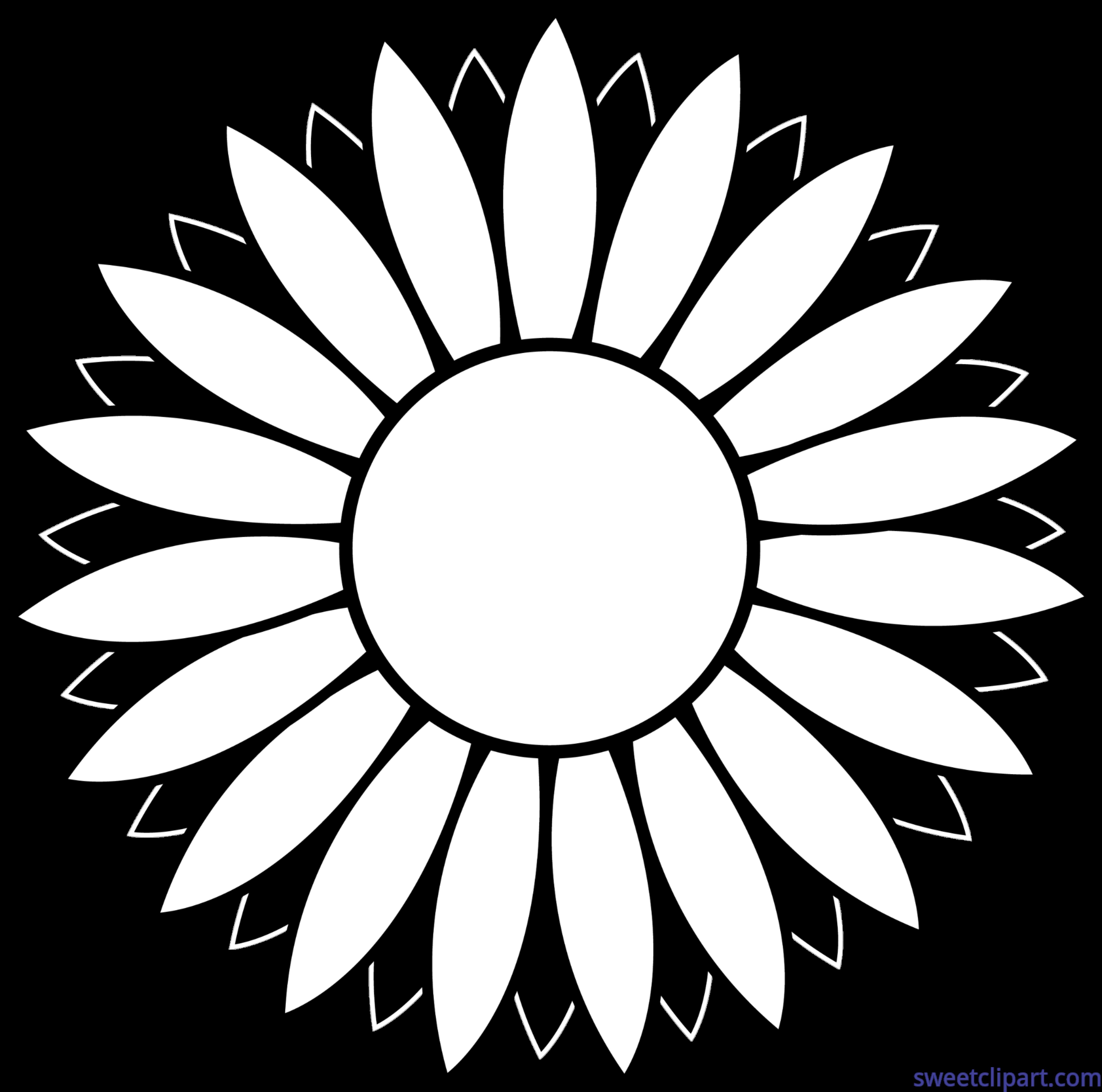 Flower sunflower black and. Shell clipart lineart