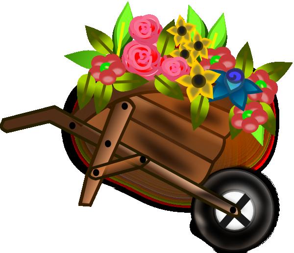 Wheelbarrow clip art at. Gardening clipart flower cart