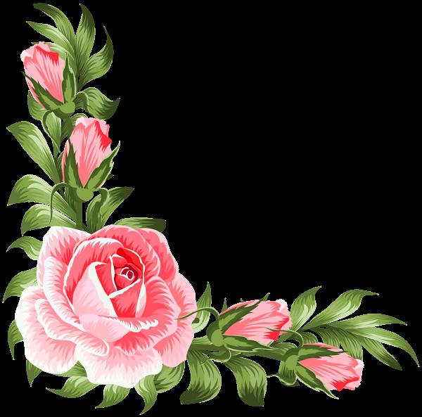 Flower clipart house. Rose corner decoration png