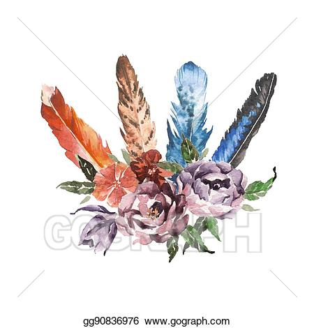 Feathers clipart flower. Watercolor boho chic image