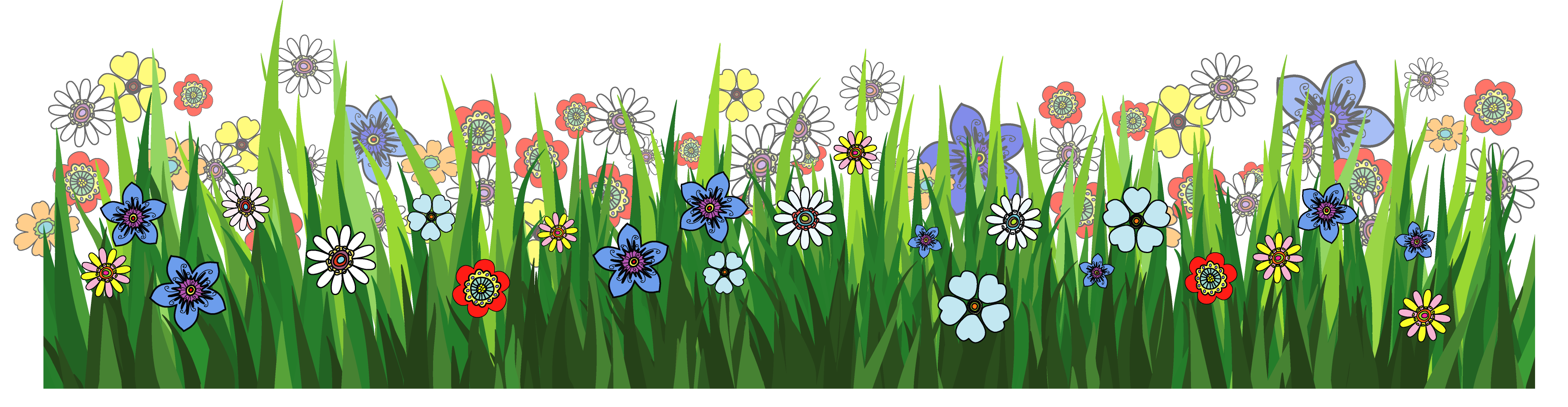 collection of grass. Flowers clipart fence